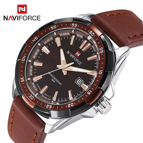 Leather Strap Casual Wrist Watches Luxury Brand Fashion Watches Military Sports Men's Quartz Waterproof Clock - amazingbigdiscounts