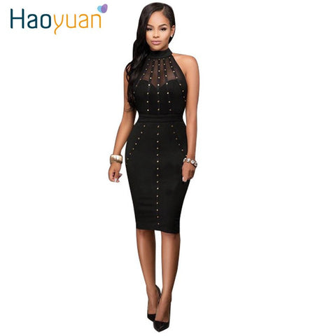 Womens Summer 2017 Dress Sexy Dresses Party Night Club Wear Ladies Bodycon Black Red Mesh Pencil Midi Dress Vestidos