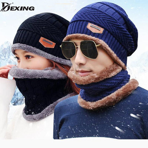 wholesal 2pcs knit scarf cap neck warmer Winter Hats For Men women Outdoor Baggy Beanies Fleece mask Knit hat - amazingbigdiscounts