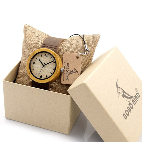2017 Brand Wood Women's Watches Bamboo Wood  Wristwatch Female Clock Lady Quartz-watch as Gifts for Women D18-2