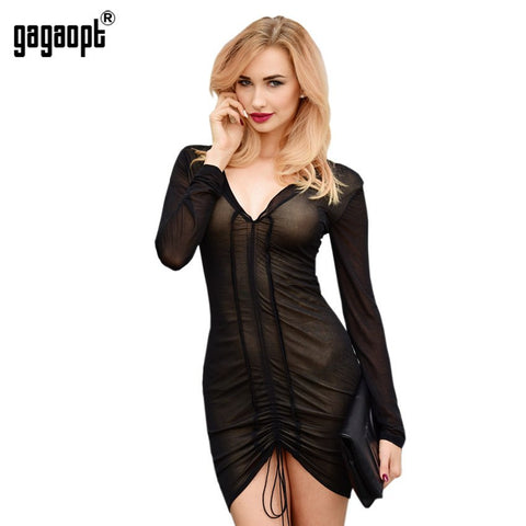 Deep V-Neck Party Dresses Bodycon Sexy Mesh Dress - amazingbigdiscounts