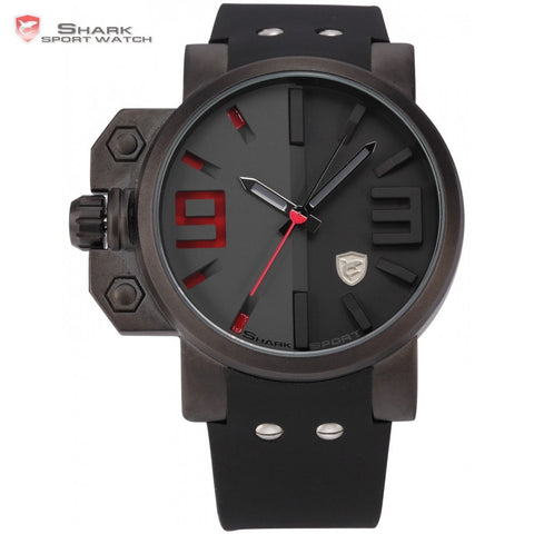 Brand Mens Quartz Sport Watches Stainless Steel Case Black Red Japan Movement Rubber Band Luxury Quartz Men Watches / SH172 - amazingbigdiscounts