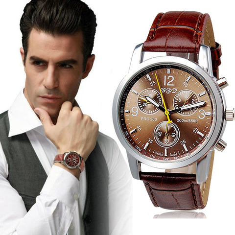 Direct Selling Alloy Casual New Brand Men Watch Relogio Masculino High Quality Pu Quartz Analog Wrist Watches 2016 #YSQ - amazingbigdiscounts