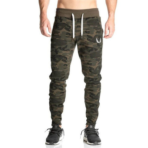 New Casual Fitted Tracksuit Bottoms Camouflage Pants Mens Joggers Elastic Sweat Pants Bodybuilding Sweatpants