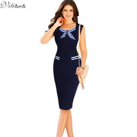 2017 New Womens Dresses Sexy Elegant  Casual Party Pencil Dresses Bowknot Pinup Wear to Work Business Sheath Bodycon Dress