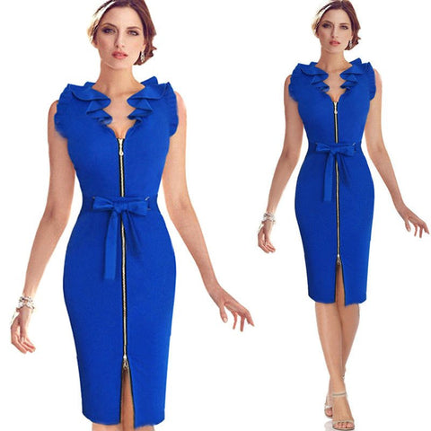 Elegant Women Party Dress 2017 Sleeveless Knee-Length V-neck Zipper Split Bodycon Dress Robe With Belt