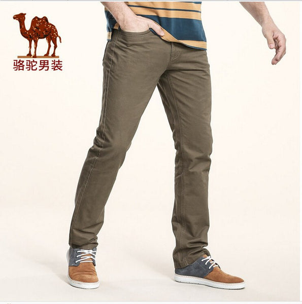 Camel men's fall men's business casual pants straight young cotton trousers big yards long pants - amazingbigdiscounts