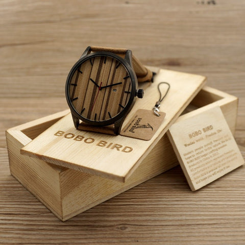 Wooden Men's Watch Quarts Calendar Display Wood Dial Watch Men Wood Watches - Wooden Gift Box- Brown Leather Strap - amazingbigdiscounts
