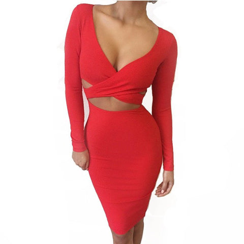 2017 Long sleeve winter women sexy Criss nigh club wear deep V bandage bodycon party dresses white black red hollow out dress
