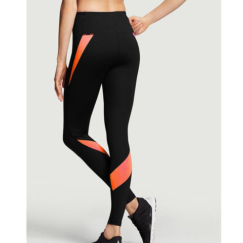 Women Orange Patchwork Yoga Pants Jogging Sports Athletic Leggings Fitness Gym Clothing Tights Compression Running Activewear XL - amazingbigdiscounts
