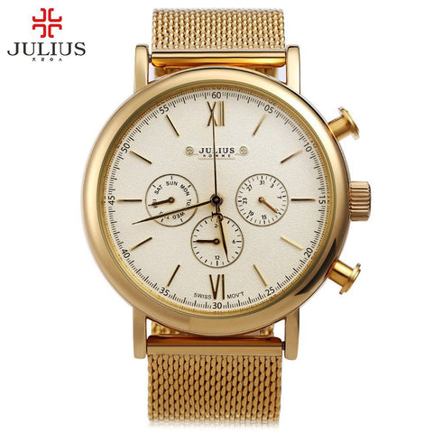 Business Quartz Watch Male Wristwatch Brand Julius Men Watches Luxury Stainless Steel Mesh Band Gold Watch - amazingbigdiscounts