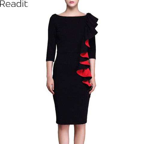 2017 Spring Womens Dress Elegant Sexy Ruffle Sleeve Ruched Party Wear To Work Fitted Stretch Pencil Sheath Bodycon Dress