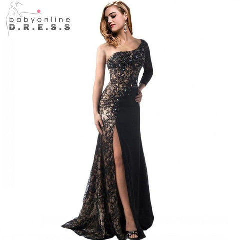 Lace Mermaid Evening Dresses 2017 Luxury One Shoulder Black Beaded Sexy Backless Long Sleeve Formal Dress