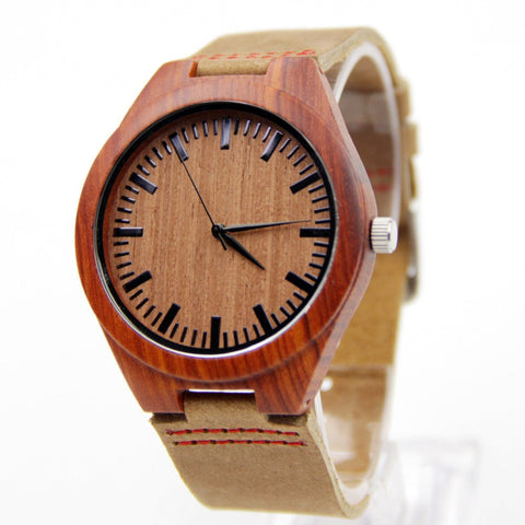 Business Men's Leather Watch Brown Not Mechanical Japen Machine Quartz Fashion And Casual Gift Bamboo Watches - amazingbigdiscounts