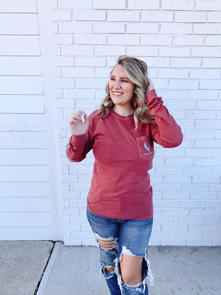 First Harvest Long Sleeve- Crimson/blue