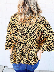 Cheetah Peplum Blouse
