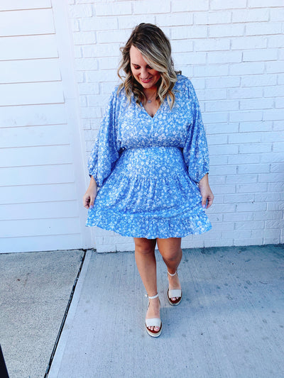 Baby Blue Floral Peplum Dress