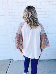 Oatmeal Multi Print Bell Sleeve Top