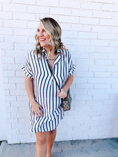 Grey Pin Stripe Dress