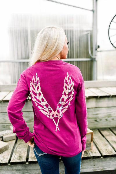 First Harvest Long Sleeve- Magenta/Plaid Limited Edition
