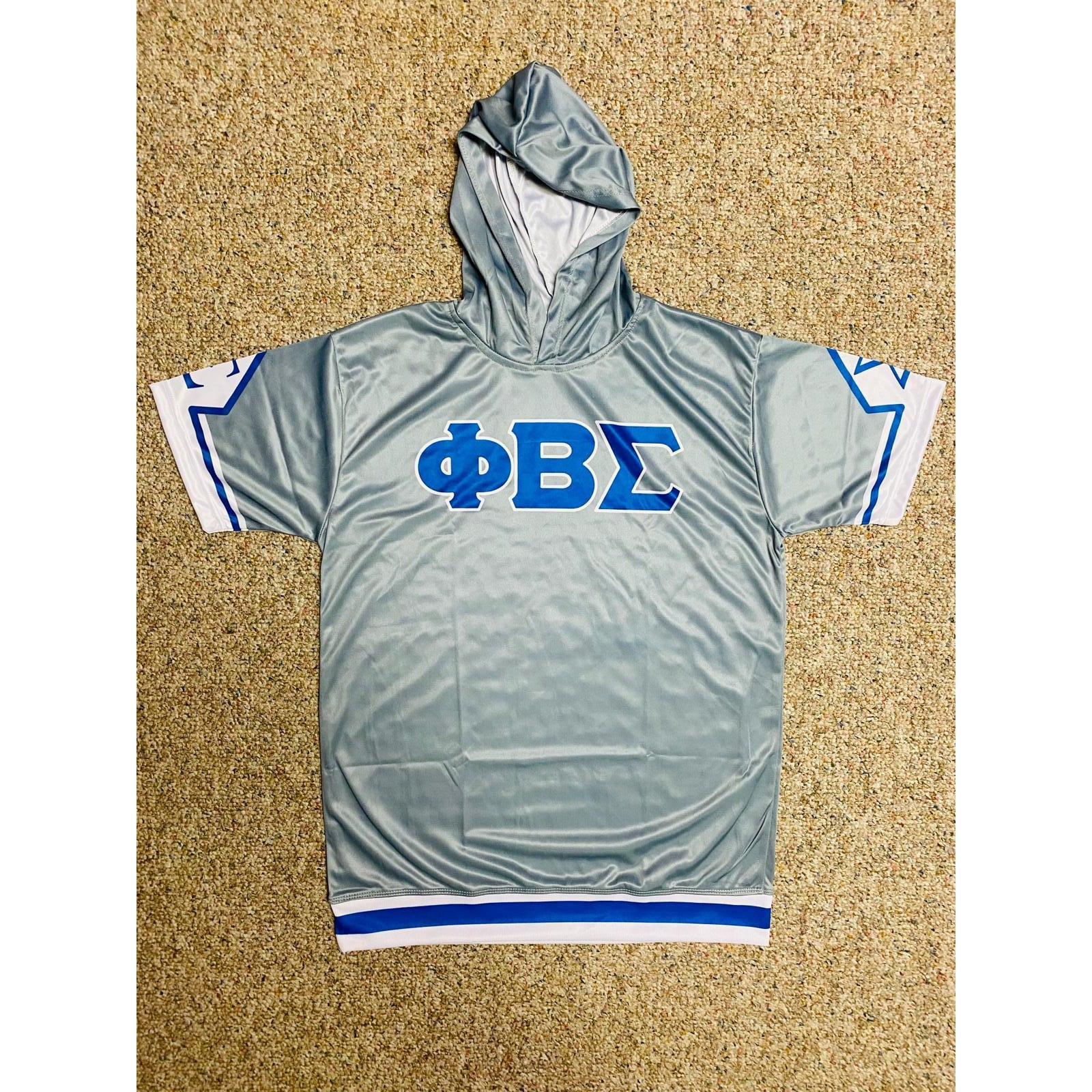 Phi Beta Sigma Grey Dri-Fit Short Sleeve Hoodie