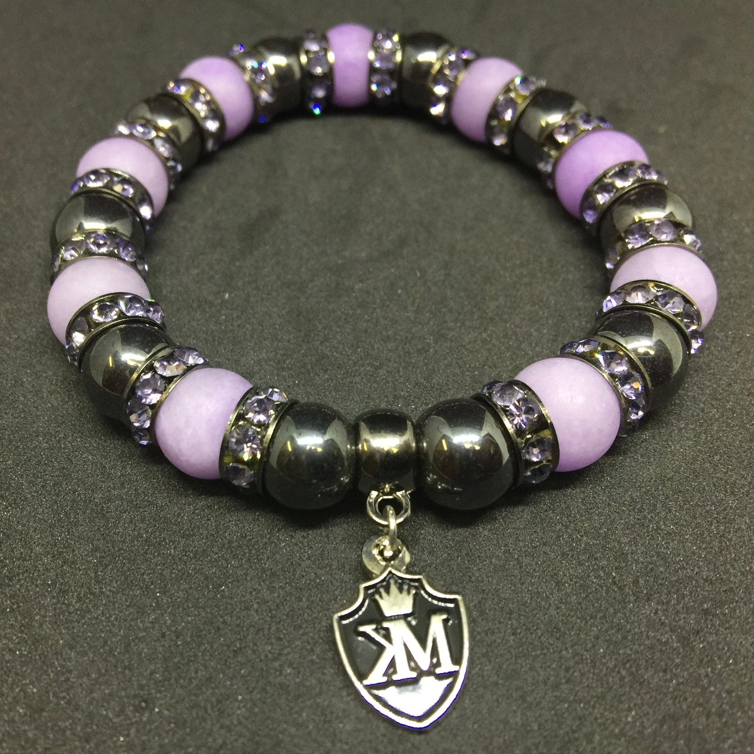 Hematite and lilac Bracelet