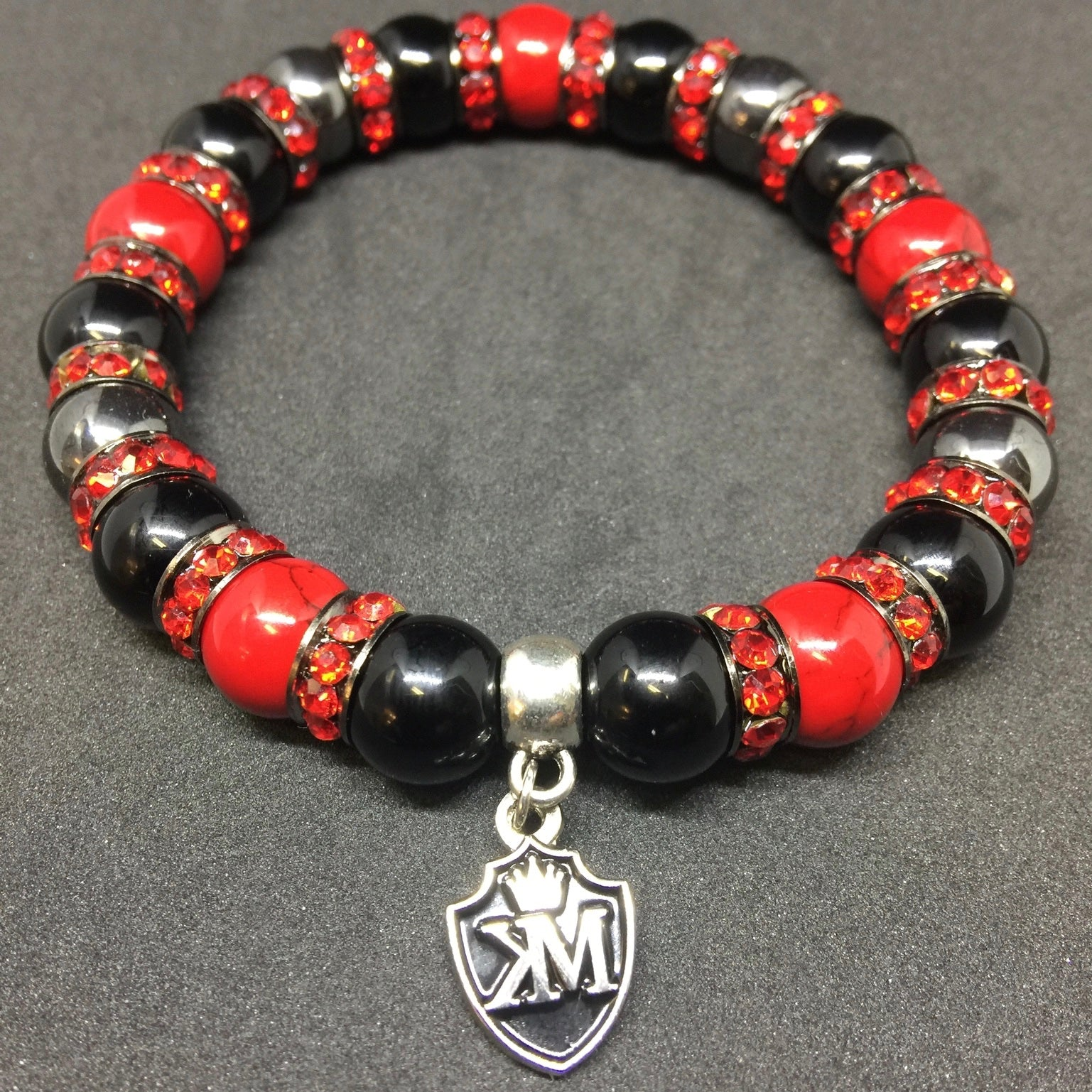 Red and black gun metal bracelet