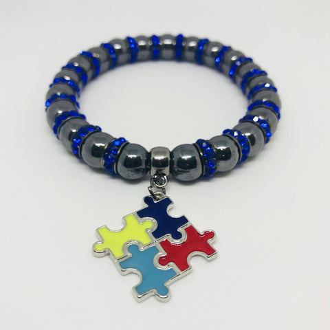 Black Hematite Autism Awareness Bracelet