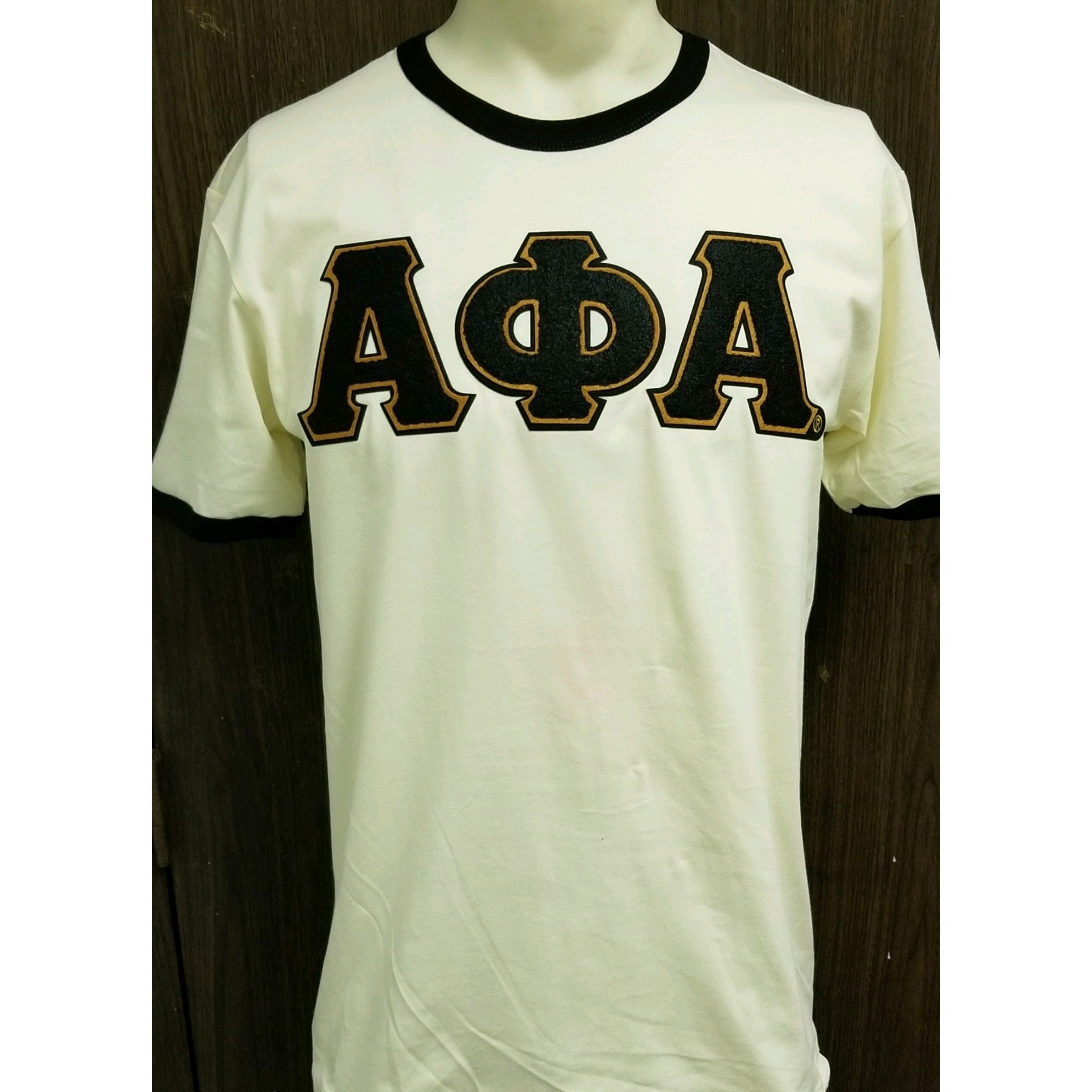 Chenille letter neutral and black Alpha ringer t shirt