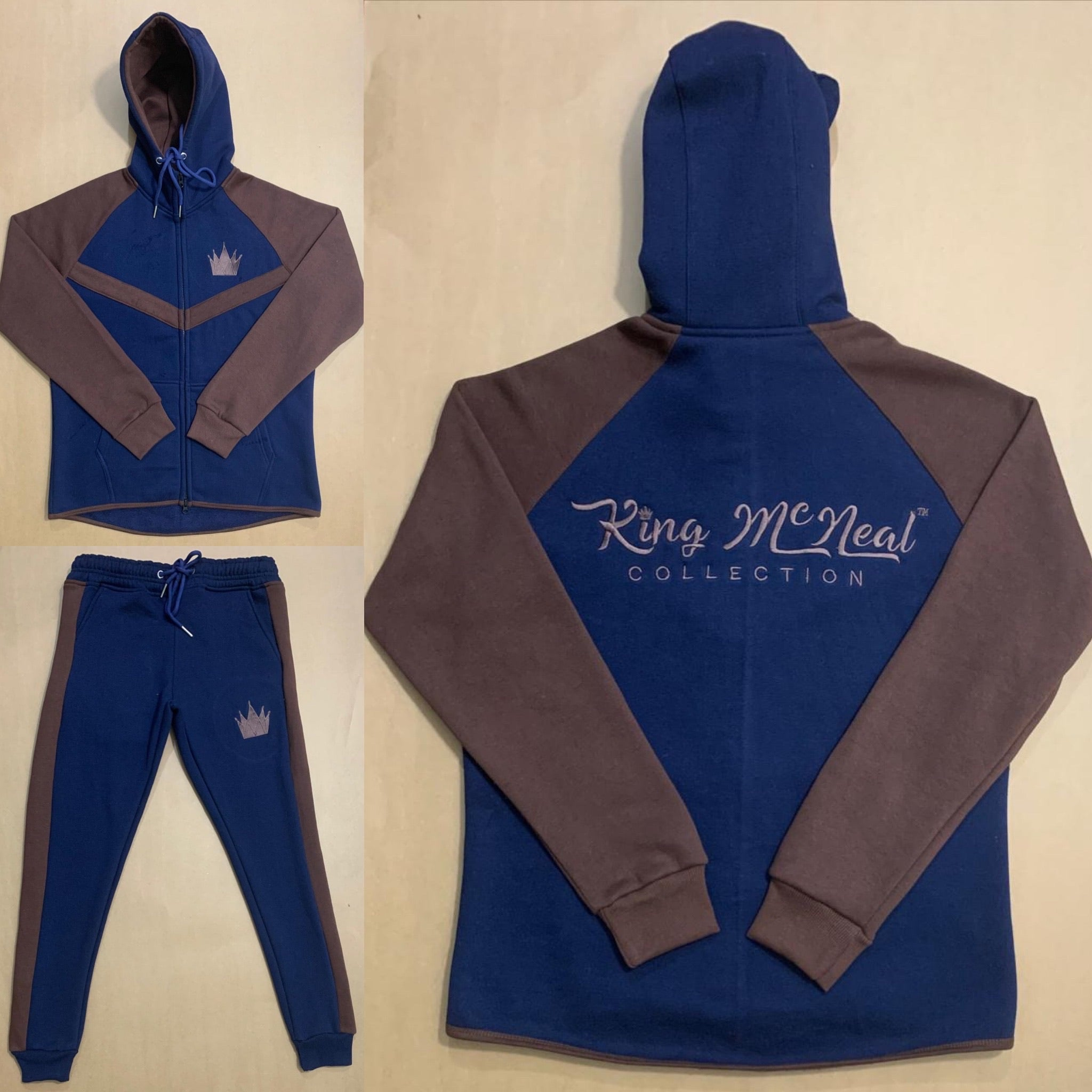 King McNeal collection sweatsuit navy and brown