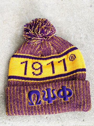Omega Psi Phi Beanie Hat with Pom
