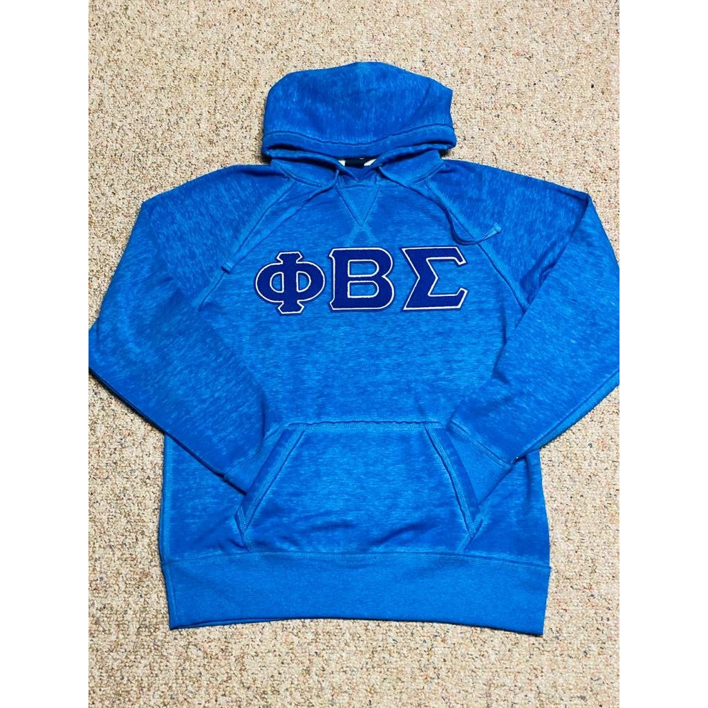 Blue acid wash Phi Beta Sigma Chenille Hoodie