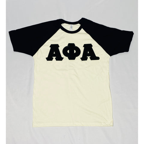 Chenille Alpha black and neutral raglan t-shirt