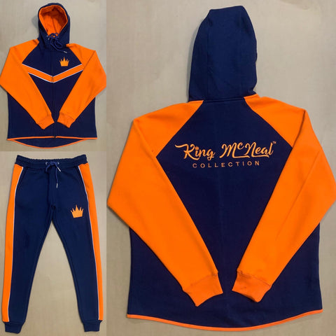 King McNeal collection sweatsuit navy and orange