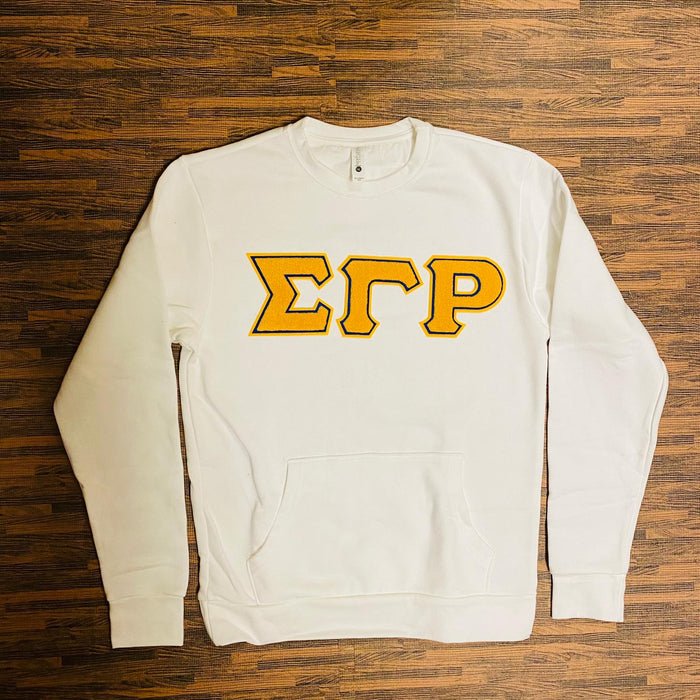 White Sigma Gamma Rho Pocket Gold Chenille Crewneck