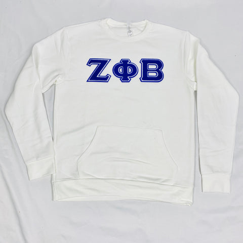 White Zeta Phi Beta Pocket Crewneck