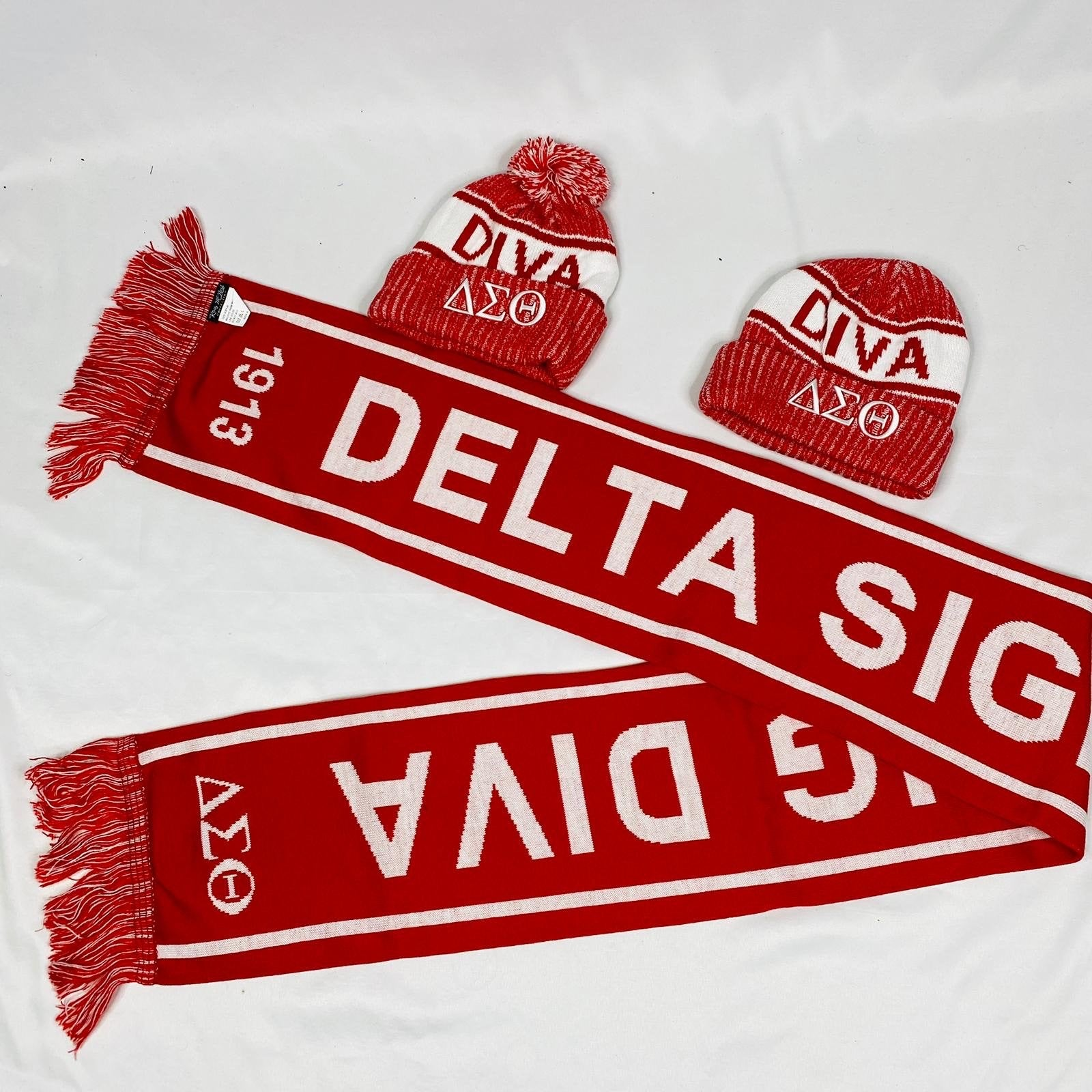 Delta Sigma Theta Scarf and One Hat Set