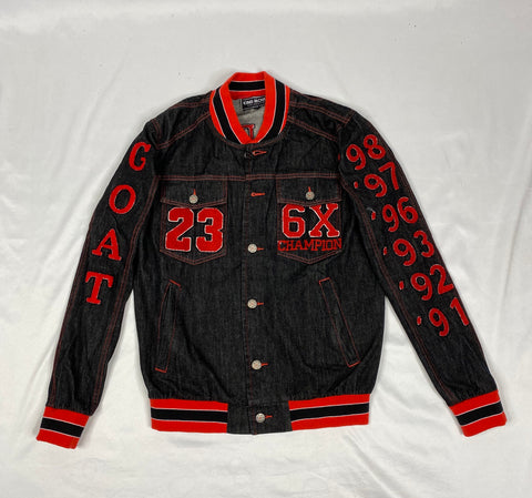 Custom Goat Black Denim Bomber Jacket
