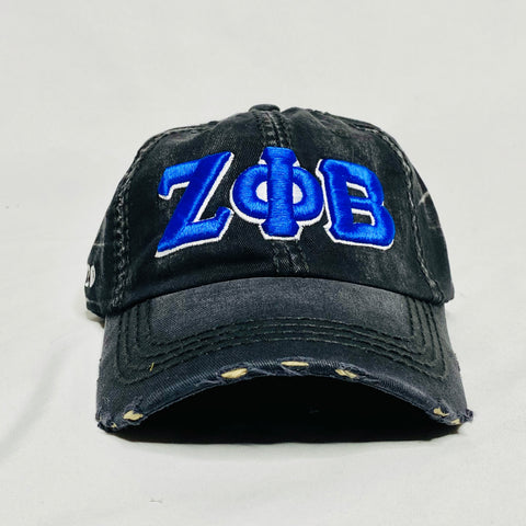 Black Denim Zeta Phi Beta Distressed Hat
