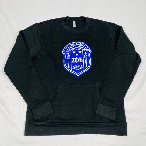 Black Zeta Crest Pocket Crewneck