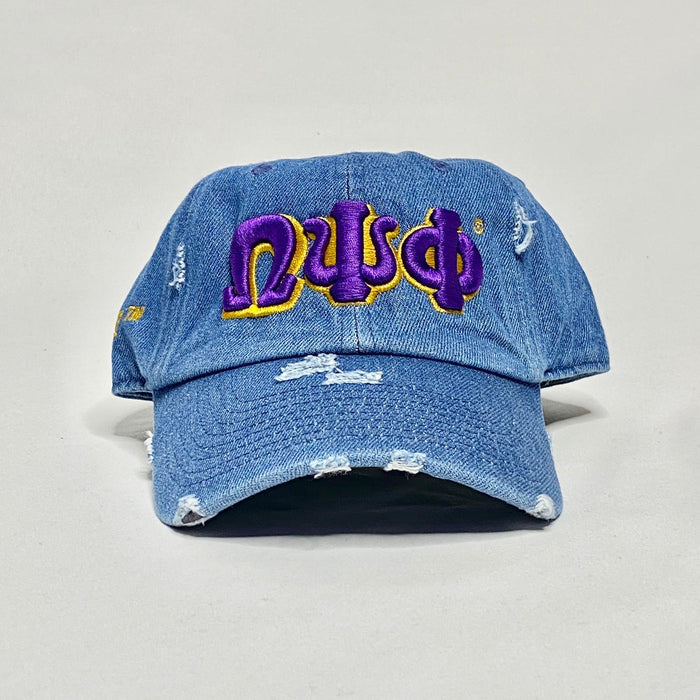 Denim Omega Psi Phi dad hat