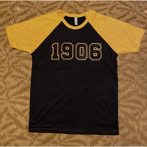 Chenille 1906 black and old gold raglan t-shirt