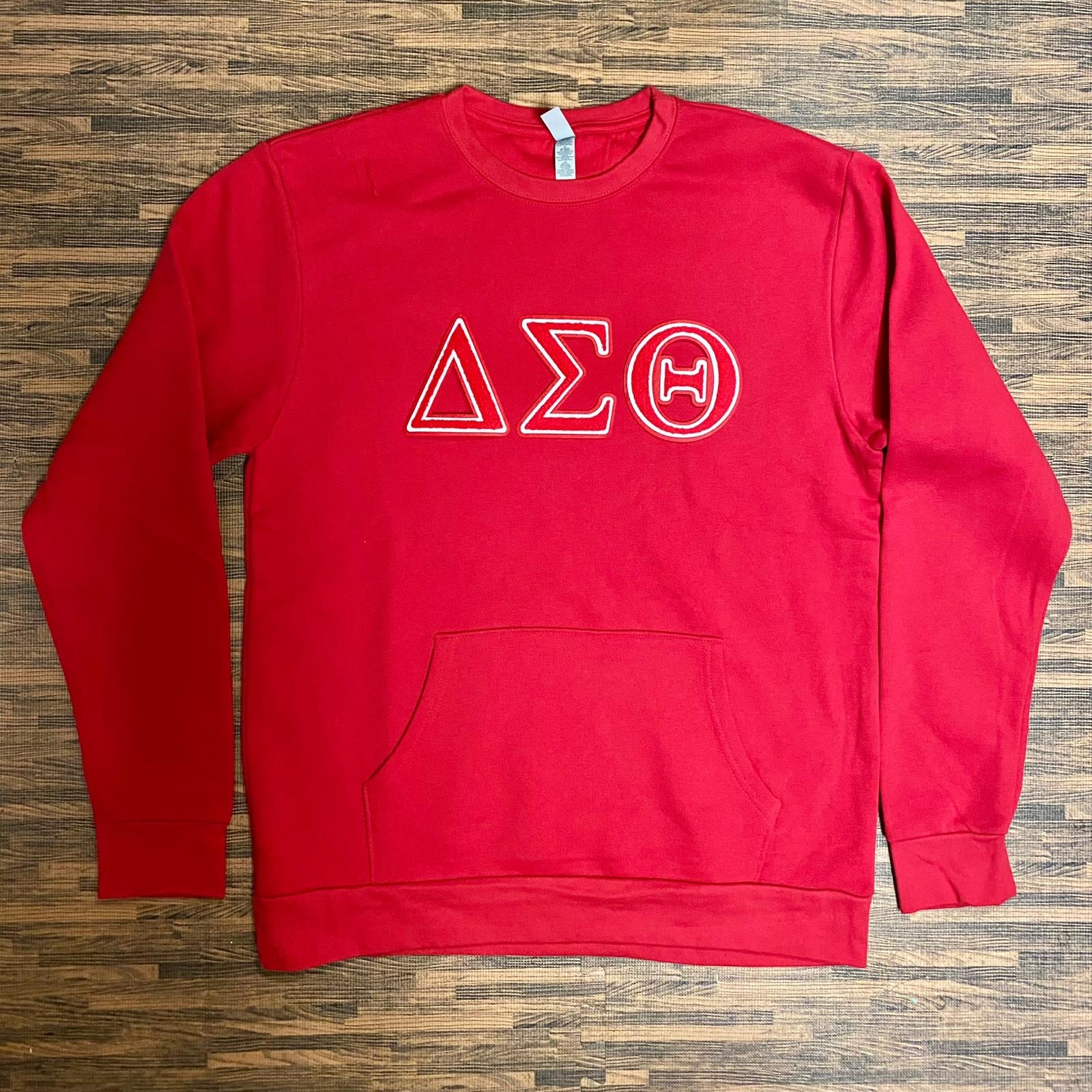 Red Delta Sigma Theta Pocket Chenille Crewneck