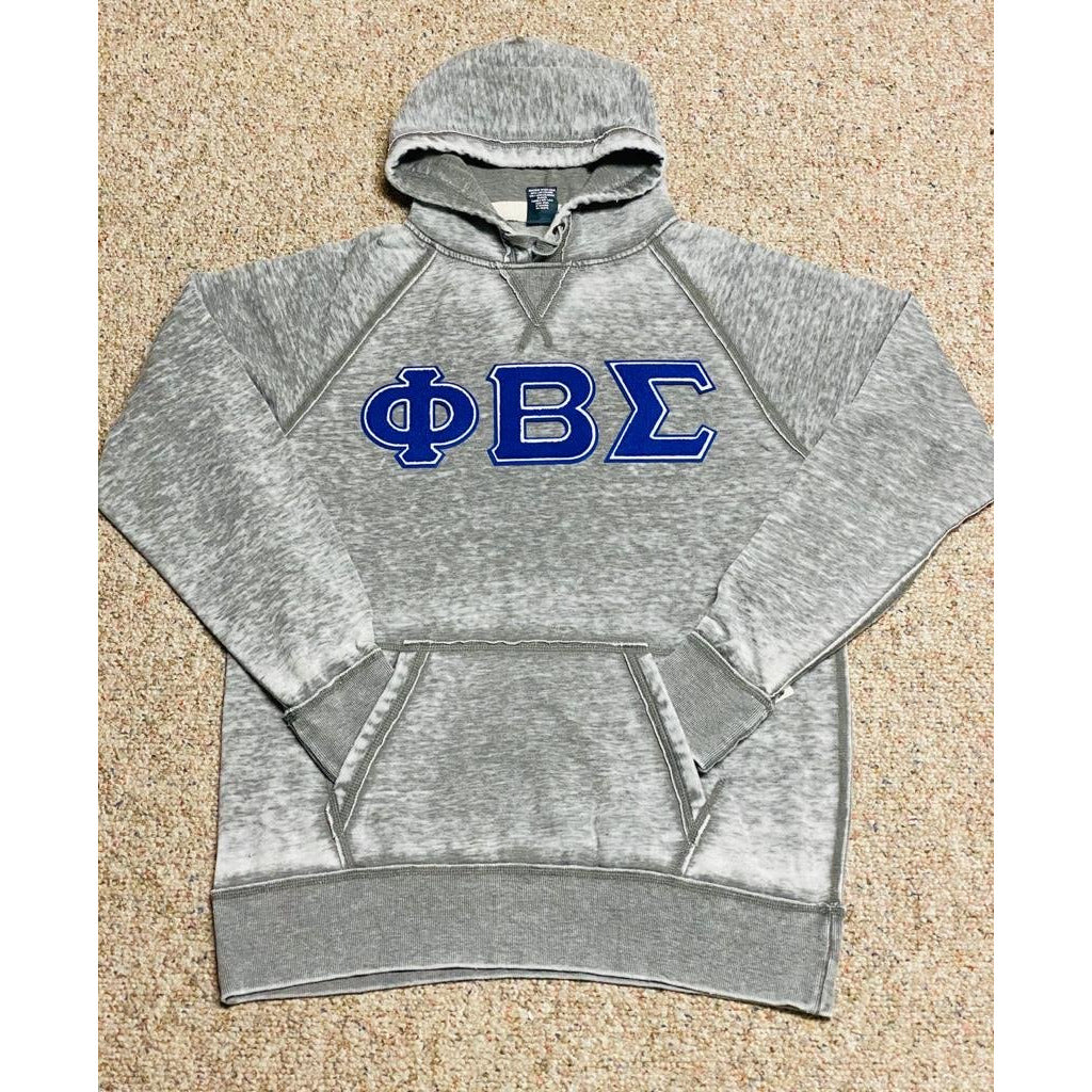 Grey acid wash Phi Beta Sigma Chenille Hoodie
