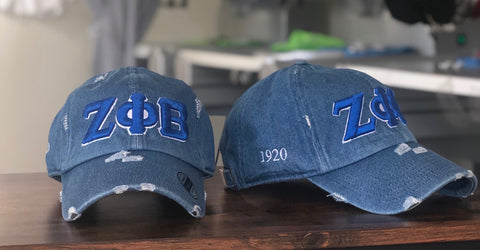 Denim Zeta Phi Beta Distressed Hat