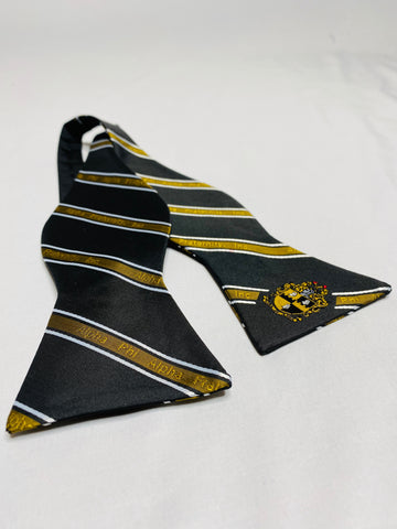 Black and Old Gold Alpha Monogram BowTie