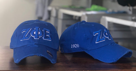 Blue Zeta Phi Beta Distressed Hat