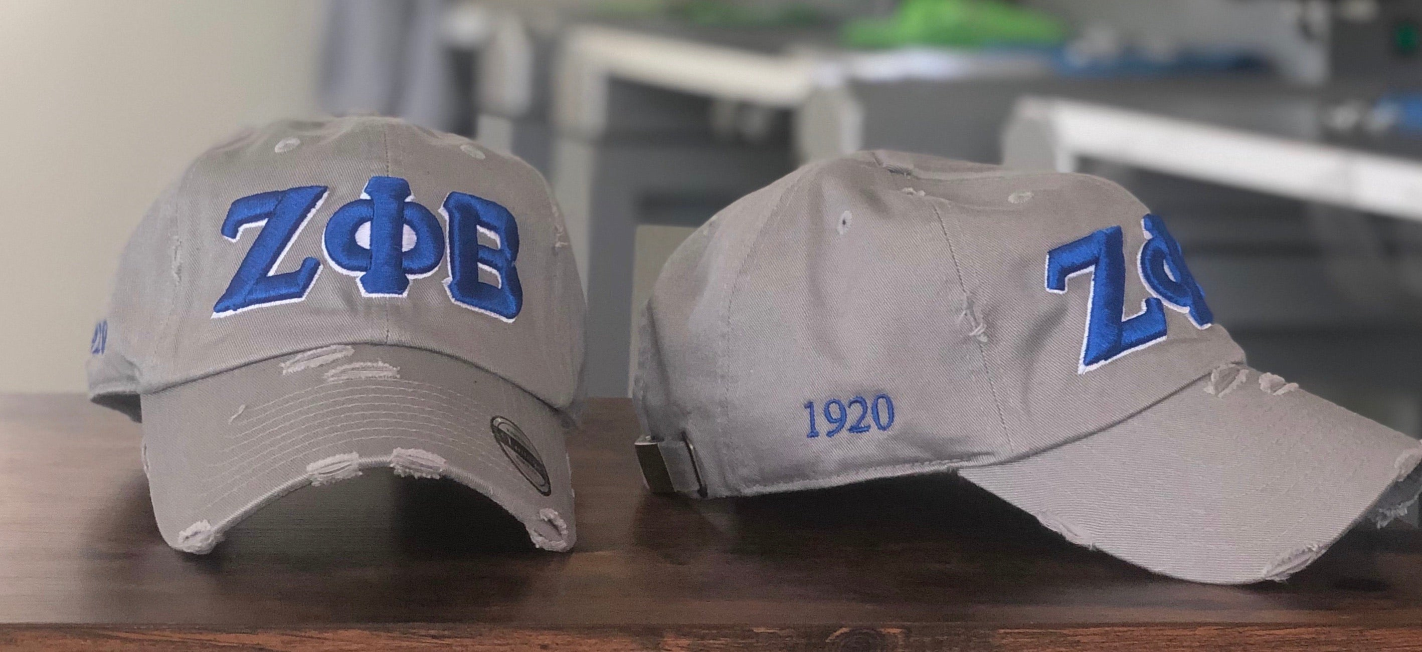 Grey Zeta Phi Beta Distressed Hat