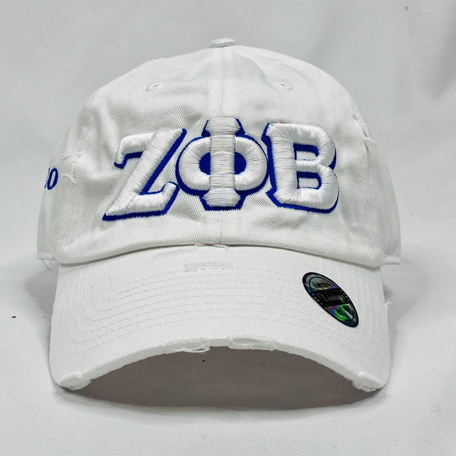 White Zeta Phi Beta Distressed Hat