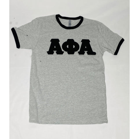 Chenille alpha grey and black ringer t shirt